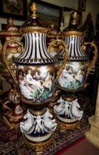 Pair of Giant Urns - Porcelain & Bronze - Signed H: 74