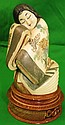 Ivory Sculpture Lady Polychrome H: 4