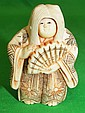 Old Ivory Netsuke Lady w/ two Faces Mobile