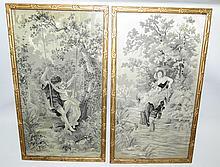 Pair of Art Nouveau Needlepoint, Romantic Scenes