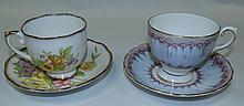 English China cups and saucers, Rosylon, Tuscan