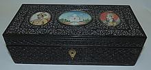 Indian EbonyBox with images over Ivory, Taj Mahal
