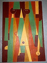 Carlos Merida Oil over Cardboard Abstract 1974