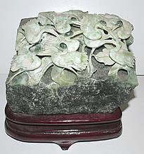 Jade Sculpture of Birds on Rock