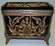 Gilded Cobalt Glass and Bronze Box