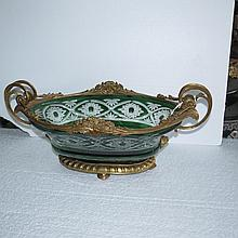 Green Crystal and Bronze Jardiniere