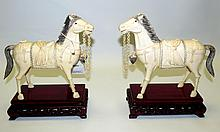 Pair of Ivory Horses ,signed Xuantong 1909-1911