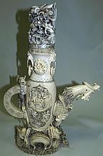 Ivory Sculpture Large Adorned Vase , 19th Century