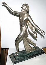 Art Deco Silverplate over Bronze Dancing Girl