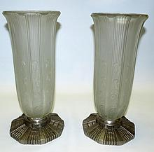 HET signed Art Deco Pair of Glass and metal vases