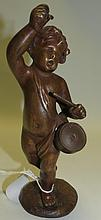 Clodion Sculpture, Boy w/Drum on marble base