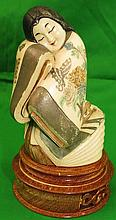 Ivory Sculpture of Lady, Polychrome H: 4
