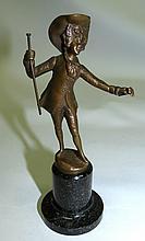 Vienna Bronze Figure of Boy  Signed H: 5.