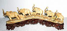 Five Elephant Carvings in Bone w/wood Base