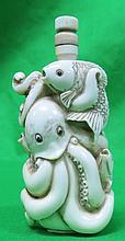 Ivory Snuff Bottle Octopus , H: 3
