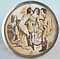 Erotic Scene Engraved over Ivory with Silver Frame