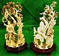 Old Pair of Ivory sculptures , Lady and Warrior