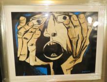 Osvaldo Guayasamin Watercolor on Paper COA