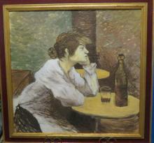 Toulouse Lautrec (Attrib) Oil on Canvas  (1890s) 24.5