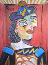 Pablo Picasso - Colored pencil on paper - COA - Excellent condition