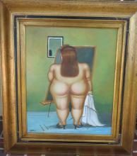 Fernando Botero - Oil on Canvas - Nude Woman w/ COA