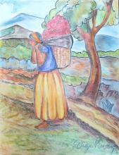 Diego Rivera - Colored pencil on paper - COA