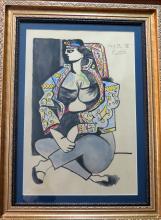 Pablo Picasso - Watercolor & crayon on paper (Attrib) COA