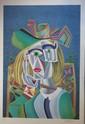 Mikhail CHEMIAKINE ( 1943 )   Hommage à Picasso   Lithographie en couleurs sur papier. Signé en bas à droite. Numéroté 213/300 en bas à gauche.  93 x 65 cm
