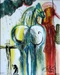 Salvador DALI (1904-1989)  Le centurion, les chevaux daliniens  Céramique d'après une aeuvre originale peinte par l'artiste en 1971  Signé en haut à gauche. Tirage limité à 490 exemplaires numérotés de numérotés de I/XD à XD/XD  25 x 20 cm