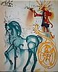 Salvador DALI (1904-1989)  Le cheval de Triomphe, les chevaux daliniens  Céramique d'après une aeuvre originale peinte par l'artiste en 1971  Signé en haut à gauche. Tirage limité à 490 exemplaires numérotés de numérotés de I/XD à XD/XD  25 x 20 cm