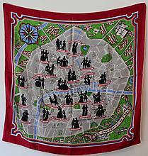 HERMES  Carré en soie imprimée d'une carte de Paris, titré
