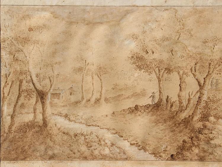 Pierre-Gabriel BERTHAULT (1737-1831)  Aux abords du village, 1826