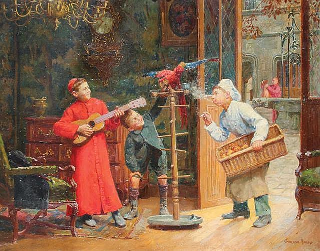 Paul CHOCARNE MOREAU (1855-1931)  Trois contre un.