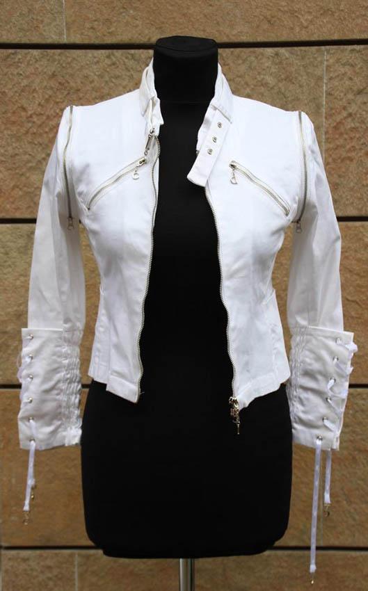 Christian DIOR Boutique Veste en coton blanc, fermeture par zip
