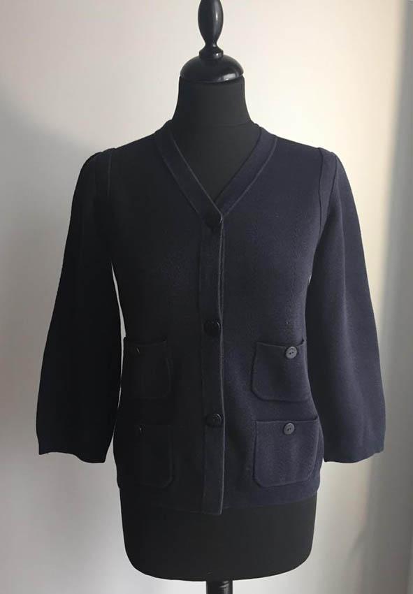 CHANEL Gilet en coton mélangé bleu