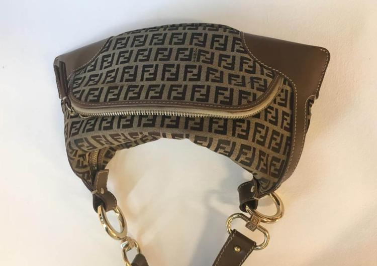 FENDI Sac à main en toile monogram brune