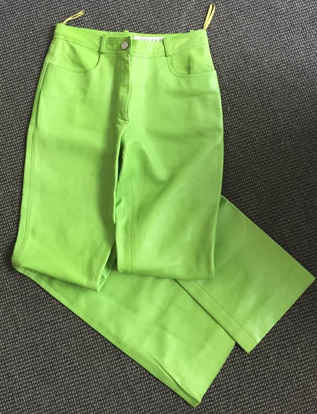 CELINE Pantalon en cuir vert pomme