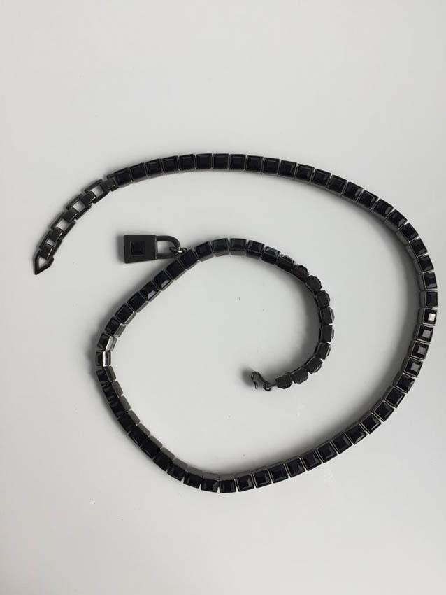 THIERRY MUGLER Ceinture en métal et strass noir,