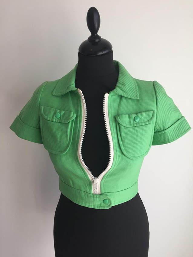 COURREGES Hyperbole Veste courte en coton vert