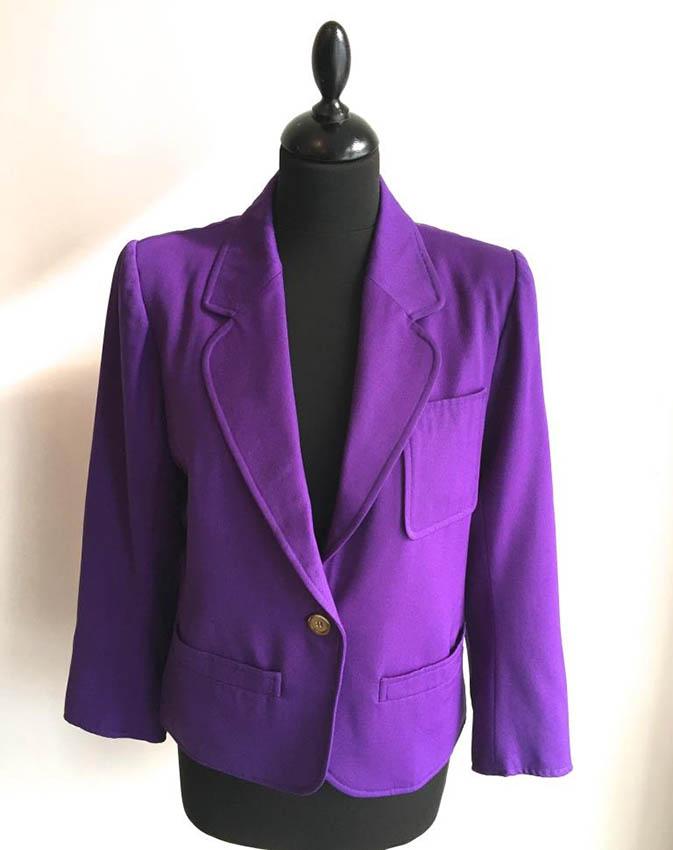 YVES SAINT LAURENT Rive Gauche Veste à manches longues en laine violette