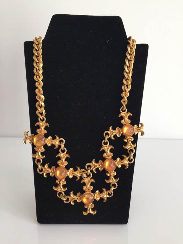 L'OR DU SOIR Collier baroque en métal doré