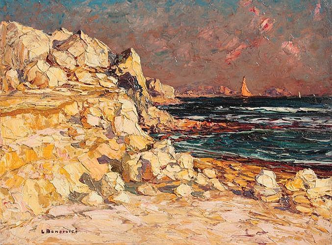 Louis BONAMICI (1878-1966)  Bord de côte