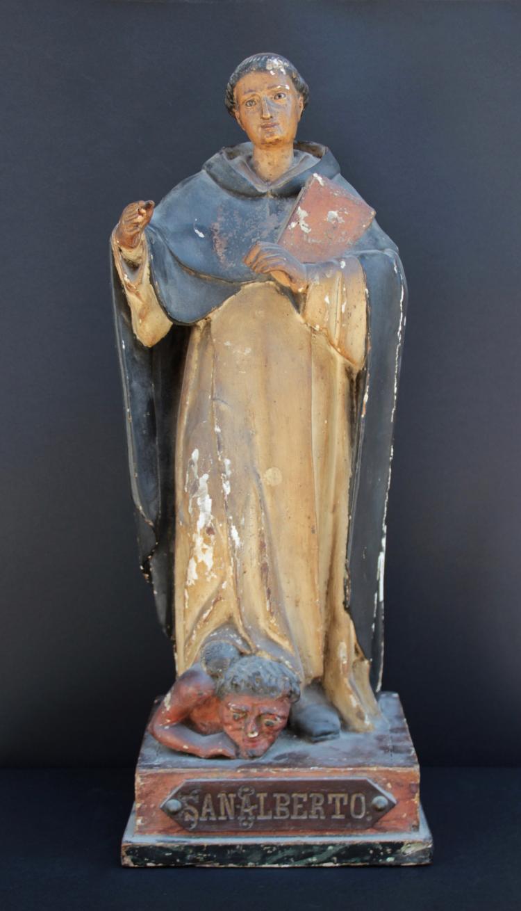 Sculpture en bois polychrome figurant saint antoine tenant u for Miroir st antoine