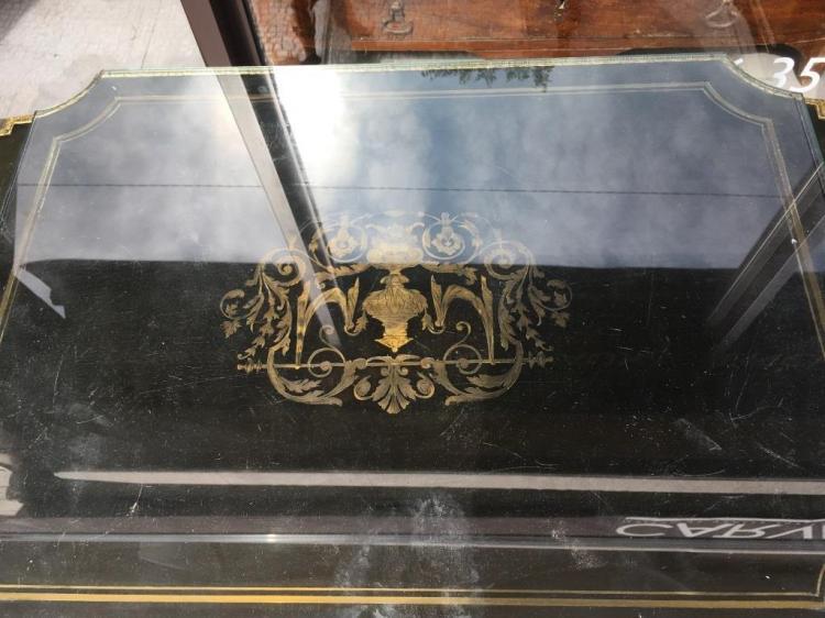 Petite table à volets en bois laqué noir à décor dincrustat ~ Table Bois Noir