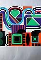 Jean DEWASNE (1921-1999)   Composition cinétique  Lithographie en couleurs sur papier.   Signé en bas à droite. Numéroté 26/150 en bas à gauche.  69 x 47 cm