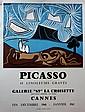 Pablo PICASSO (1881-1973)(d'après)  Affiche pour l'exposition « Picasso 45 linoléums gravés » à la Galerie 65, Cannes. 1960.  Impression typographique en couleurs. Imp. Arnera, Vallauris.  67 x 51 cm (légères déchirures sur le bord en haut à gauche)