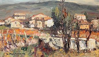 René PEYRANNE (1910) Paysage de Provence Huile sur toile. Signé en bas à gauche. 33 x 55 cm
