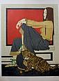 Philippe Henri NOYER (1917-1985)  Femme à la panthère  Lithographie sur papier.   Signé en bas à droite. Numéroté 125/150 en bas à gauche.  67,5 x 50 cm