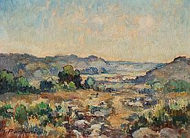Marcel PARTURIER (1901-1976) La garigue de Coursegoules Huile sur isorel. Signé en bas à gauche. 19 x 27 cm