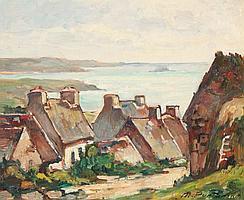 Marcel PARTURIER (1901-1976) Paysage du Finistère Huile sur isorel. Signé en bas à droite. 22 x 27 cm